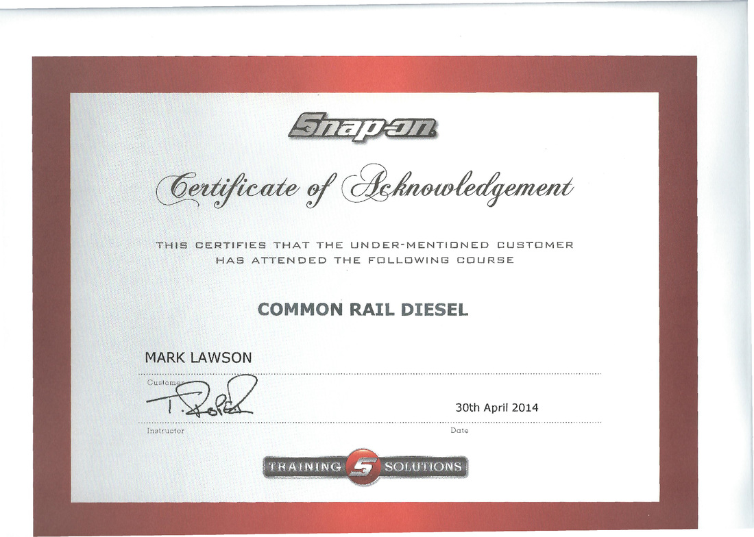 Snap On Certificate